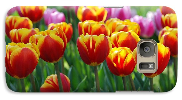 Galaxy Case featuring the photograph Red And Yellow Tulips  by Allen Beatty