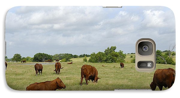 Galaxy Case featuring the photograph Red Angus Cattle by Charles Beeler