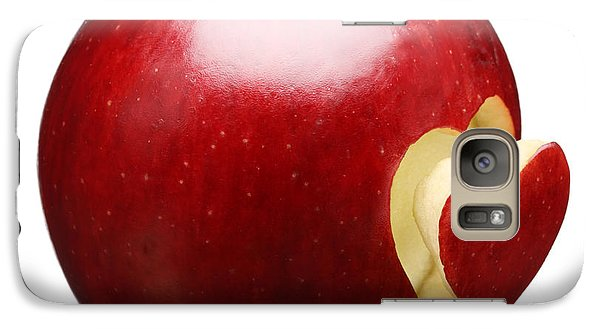 Apple Galaxy S7 Case - Red Apple With Heart by Johan Swanepoel