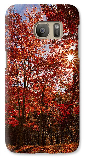 Galaxy Case featuring the photograph Red Autumn Leaves by Jerry Cowart