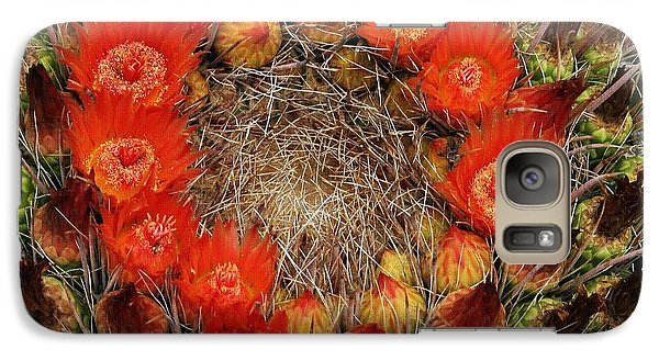 Galaxy Case featuring the photograph Red Barell Cactus Flowers by Tom Janca