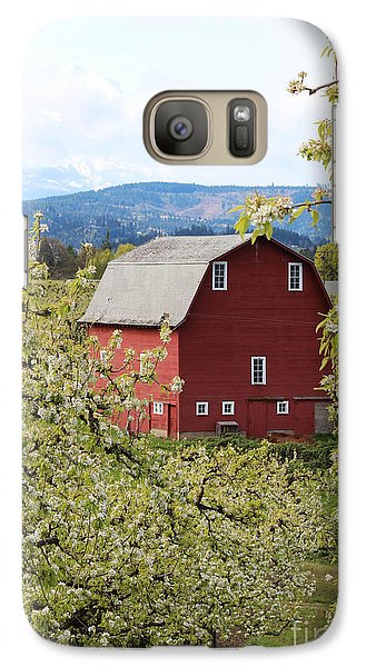 Galaxy Case featuring the photograph Red Barn And Apple Blossoms by Patricia Babbitt
