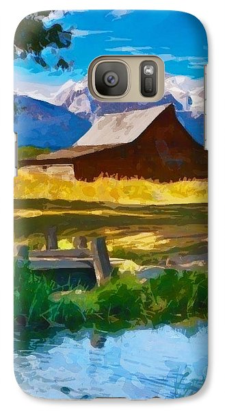 Galaxy Case featuring the digital art Red Barn And Mountains  by Mary M Collins