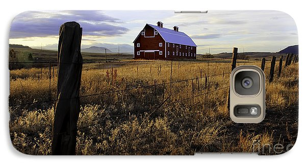 Galaxy Case featuring the photograph Red Barn In The Golden Field by Kristal Kraft