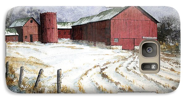 Galaxy Case featuring the painting Red Barn On Rt. 49 by Roger Rockefeller