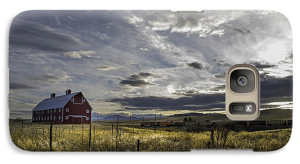 Galaxy Case featuring the photograph Red Barn Southbound Train by Kristal Kraft