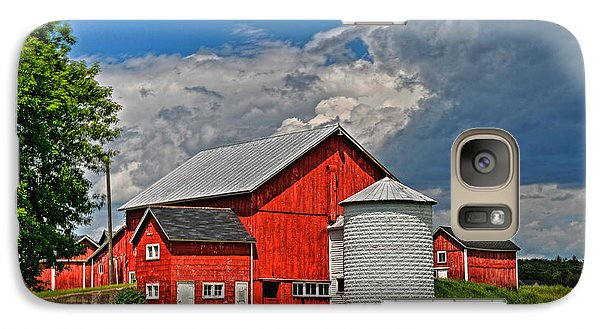 Galaxy Case featuring the photograph Red Barn White Silo by Trey Foerster