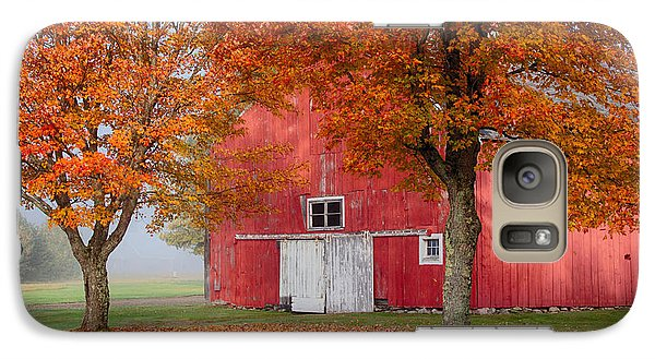 Galaxy Case featuring the photograph Red Barn With White Barn Door by Jeff Folger