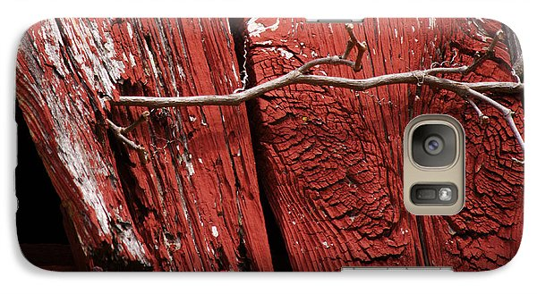 Galaxy Case featuring the photograph Red Barn Wood With Dried Vine by Rebecca Sherman