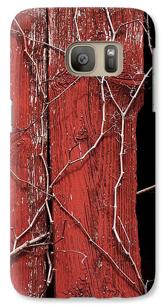 Galaxy Case featuring the photograph Red Barn Wood With Dried Vines by Rebecca Sherman