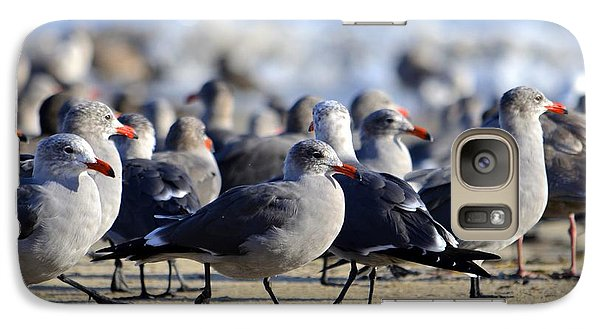 Galaxy Case featuring the photograph Red Beak Seagull Convention by Alex King