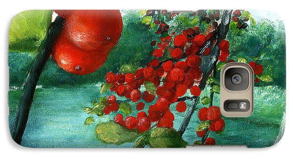 Galaxy Case featuring the painting Red Berry Tree On Louisiana Pond by Lenora  De Lude