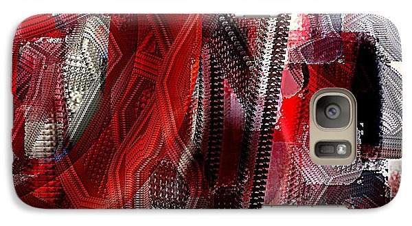 Galaxy Case featuring the painting Red Black And White Abstract by Jessica Wright