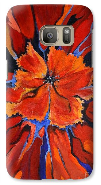 Galaxy Case featuring the painting Red Bloom by Alison Caltrider