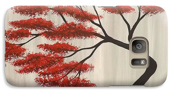 Galaxy Case featuring the painting Red Bonsai by Darren Robinson