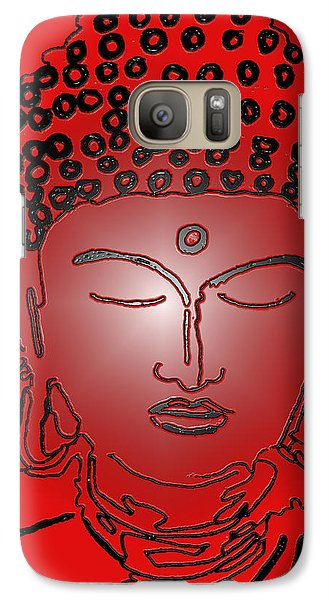 Galaxy Case featuring the digital art Red Buddha by Christine Perry
