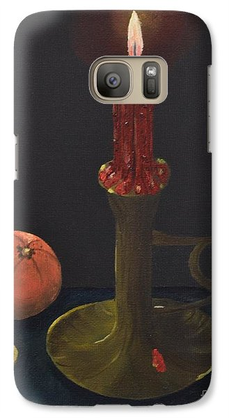 Galaxy Case featuring the painting Red Candle by Melvin Turner