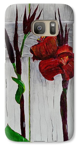 Galaxy Case featuring the painting Red Canna Lily by Melvin Turner