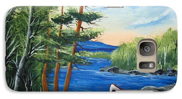 Galaxy Case featuring the painting Red Canoe by Brenda Brown