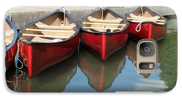 Galaxy Case featuring the photograph Red Canoes by Marcia Socolik