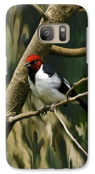 Galaxy Case featuring the photograph Red-capped Cardinal by Adam Olsen