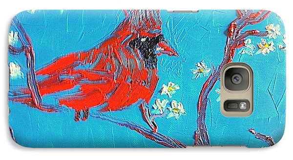 Galaxy Case featuring the painting Red Cardinal Spring by Richard W Linford