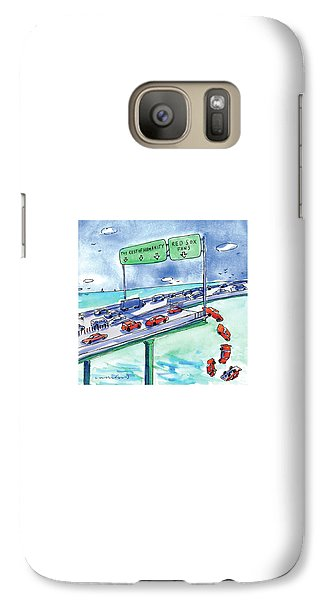 Baseball Galaxy S7 Case - Red Cars Drop Off A Bridge Under A Sign That Says by Michael Crawford