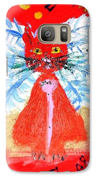 Galaxy Case featuring the painting Red Cat I by Leslie Byrne