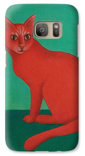Galaxy Case featuring the painting Red Cat by Pamela Clements