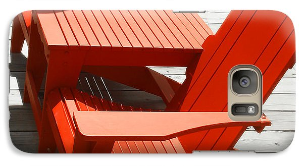Galaxy Case featuring the photograph Red Chairs by Raymond Earley