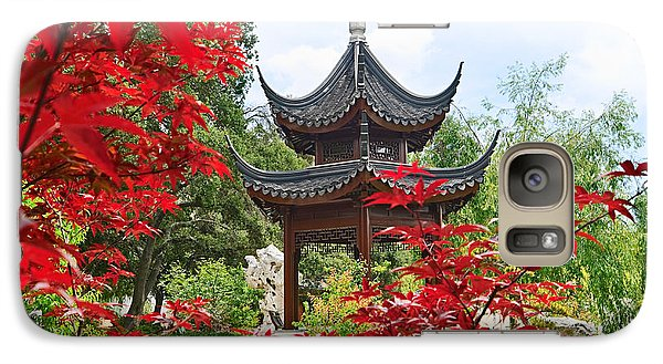 Garden Galaxy S7 Case - Red - Chinese Garden With Pagoda And Lake. by Jamie Pham