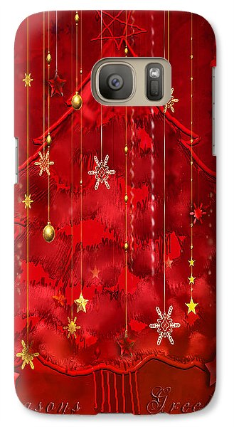 Galaxy Case featuring the digital art Red Christmas Tree by Arline Wagner