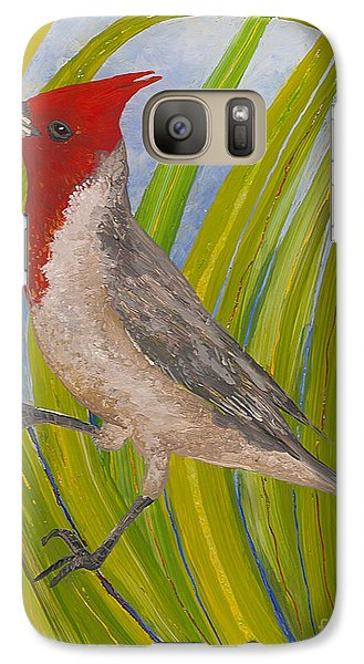 Galaxy Case featuring the painting Red-crested Cardinal by Anna Skaradzinska