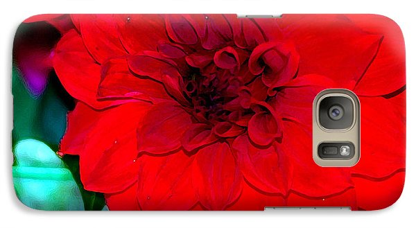 Galaxy Case featuring the photograph Red Dahlia by Lehua Pekelo-Stearns