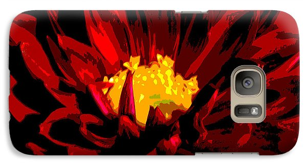 Galaxy Case featuring the photograph Red Dahlia Abstract by Olivia Hardwicke