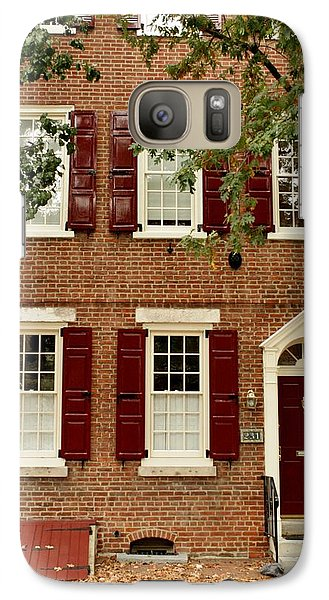Galaxy Case featuring the photograph Red Door And Shutters by Christopher Woods