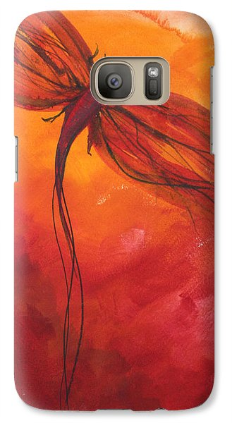 Galaxy Case featuring the painting Red Dragonfly 2 by Julie Lueders