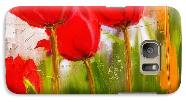 Red Enigma- Red Tulips Paintings Galaxy Case by Lourry Legarde