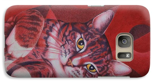 Galaxy Case featuring the painting Red Feline Geometry by Pamela Clements