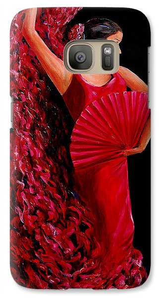 Galaxy Case featuring the painting Red Flamenco Dancer by Nancy Bradley