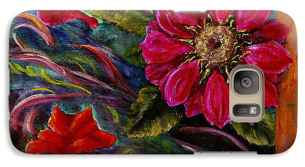 Galaxy Case featuring the painting Red Flower In Rust And Green by Lenora  De Lude
