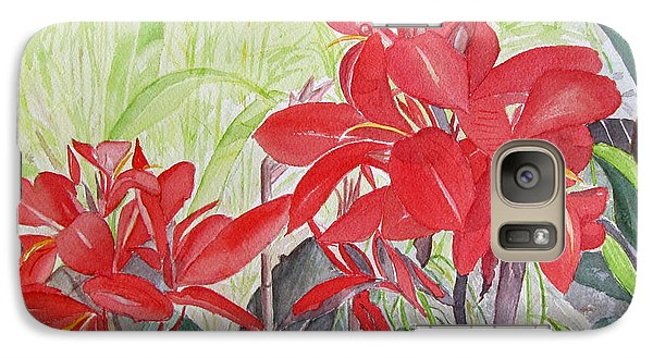 Galaxy Case featuring the painting Red Flowers by Carol Flagg
