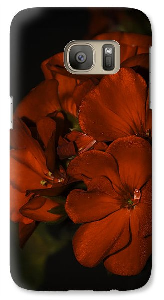 Galaxy Case featuring the photograph Red Flowers In Evening Light by Lucinda Walter