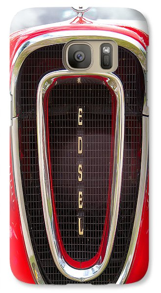Galaxy Case featuring the photograph Red Ford Edsel Grill Detail by Mick Flynn