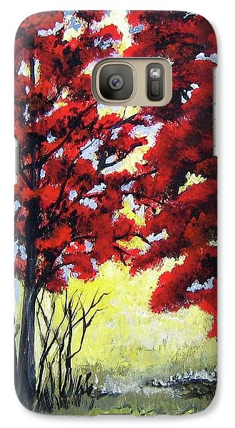 Galaxy Case featuring the painting Red Forest by Suzanne Theis