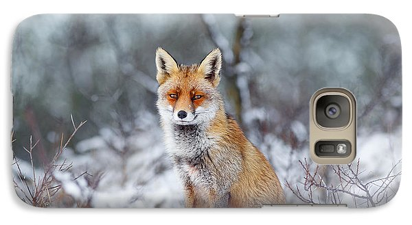 Red Fox Blue World Galaxy Case by Roeselien Raimond