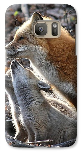 Galaxy Case featuring the photograph Red Fox With Kits by Doris Potter