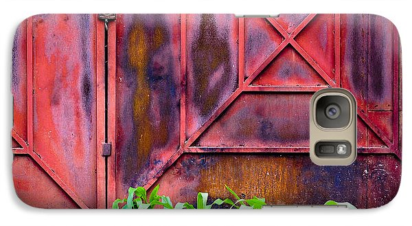 Galaxy Case featuring the photograph Red Gate Green Corn by Ronda Broatch