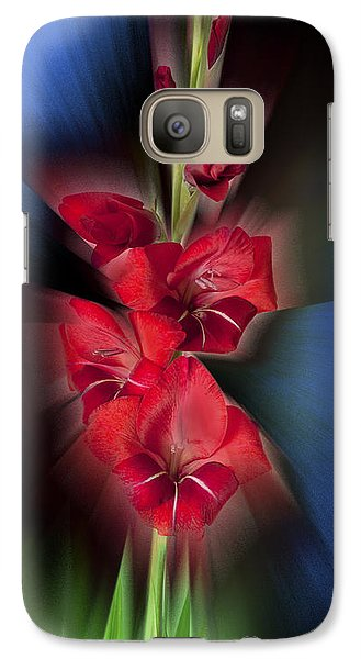 Galaxy Case featuring the photograph Red Gladiola by Mark Greenberg