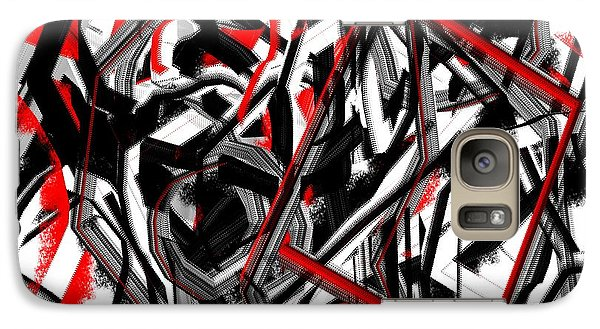 Galaxy Case featuring the painting Red Gray And Black Abstract On White Background by Jessica Wright
